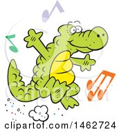 Alligator Or Crocodile Jumping With Music Notes