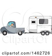 Clipart Of A Man Driving A Pickup Truck And Hauling A Horse Trailer Royalty Free Vector Illustration