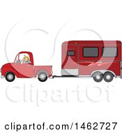 Clipart Of A Man Driving A Red Pickup Truck And Hauling A Horse Trailer Royalty Free Vector Illustration