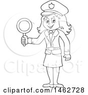 Clipart Of A Black And White Police Woman Holding A Sign Royalty Free Vector Illustration by visekart