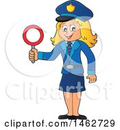 Clipart Of A Happy Blond Police Woman Holding A Sign Royalty Free Vector Illustration by visekart