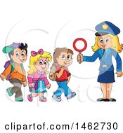 Happy Blond Police Woman Helping Children Cross A Street