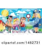 Happy Blond Police Woman Helping Children On A Crosswalk