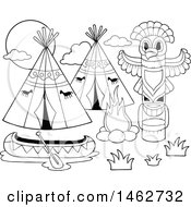 Clipart Of A Black And White Native American Camp With A Canoe Royalty Free Vector Illustration