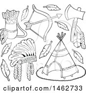 Clipart Of Black And White Native American Arrows Bow Tomahawk Headdress And Teepee Royalty Free Vector Illustration