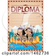 Clipart Of A Diploma With Native Americans Paddling A Boat Royalty Free Vector Illustration by visekart