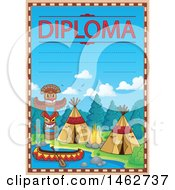 Clipart Of A Diploma With A Native American Camp Royalty Free Vector Illustration by visekart