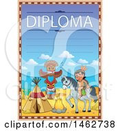 Clipart Of A Diploma With A Horseback Native American And Camp Royalty Free Vector Illustration
