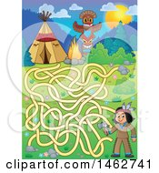 Clipart Of A Maze Game Of A Native American Boy Holding An Axe And Camp In The Mountains Royalty Free Vector Illustration by visekart