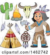 Clipart Of A Native American Boy Holding An Axe And Other Items Royalty Free Vector Illustration