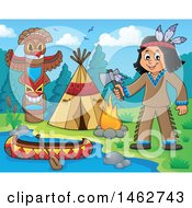 Clipart Of A Native American Boy Holding An Axe At A River Camp Royalty Free Vector Illustration
