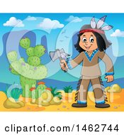 Clipart Of A Native American Boy Holding An Axe In The Desert Royalty Free Vector Illustration by visekart
