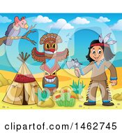 Clipart Of A Native American Boy Holding An Axe In A Desert Camp Royalty Free Vector Illustration