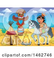 Clipart Of A Native American Boy Holding An Axe On Horseback At A Desert Camp Royalty Free Vector Illustration by visekart