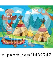 Clipart Of A Native American Camp Site On A River Royalty Free Vector Illustration