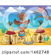 Clipart Of A Native American Camp Site In The Desert Royalty Free Vector Illustration