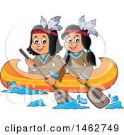 Native American Children Rowing A Canoe