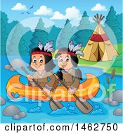 Clipart Of Native American Children Rowing A Canoe By A River Camp Royalty Free Vector Illustration