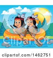 Clipart Of Native American Children Rowing A Canoe On A River Royalty Free Vector Illustration by visekart