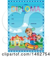 Clipart Of A Diploma Of A Boy Skateboarding To School Royalty Free Vector Illustration by visekart