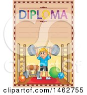 Clipart Of A Diploma Of A Boy Playing Lifting Weights In A Gym Royalty Free Vector Illustration by visekart