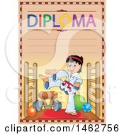 Clipart Of A Diploma Of A Boy Doing Karate In A Gym Royalty Free Vector Illustration by visekart