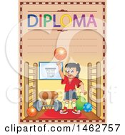 Clipart Of A Diploma Of A Boy Playing Basketball In A Gym Royalty Free Vector Illustration by visekart