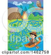 Clipart Of A Maze Of A Boy Canoeing A Boat By A Campsite Royalty Free Vector Illustration
