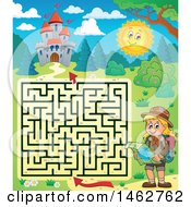 Poster, Art Print Of Maze Of A Hiking Girl Reading A Map Near A Castle