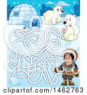Clipart Of A Maze Of An Eskimo Girl Polar Bears And Igloo Royalty Free Vector Illustration by visekart