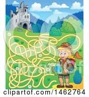 Poster, Art Print Of Maze Of A Hiking Girl Reading A Map Near Castle Ruins