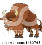 Clipart Of A Happy Brown Bison Royalty Free Vector Illustration