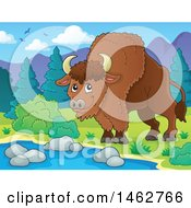 Clipart Of A Happy Brown Bison At A Watering Hole Royalty Free Vector Illustration by visekart