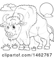 Clipart Of A Black And White Happy Bison Royalty Free Vector Illustration by visekart