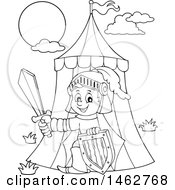 Clipart Of A Black And White Knight Emerging From A Tent Royalty Free Vector Illustration