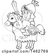 Clipart Of A Black And White Knight On A Steed Royalty Free Vector Illustration