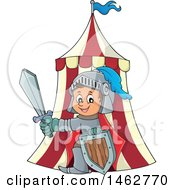 Clipart Of A Happy Knight Emerging From A Tent Royalty Free Vector Illustration