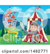 Clipart Of A Happy Knight Emerging From A Tent On Castle Grounds Royalty Free Vector Illustration by visekart