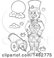 Clipart Of A Black And White Military Soldier By A Cannon Royalty Free Vector Illustration by visekart