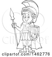 Clipart Of A Black And White Roman Soldier With A Spear Royalty Free Vector Illustration by visekart