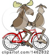 Clipart Of A Moose Couple Riding A Bicycle One On The Handlebars Royalty Free Illustration