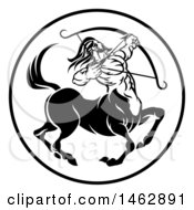 Clipart Of A Black And White Zodiac Horoscope Astrology Centaur Sagittarius Circle Design Royalty Free Vector Illustration by AtStockIllustration