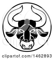 Black And White Zodiac Horoscope Astrology Taurus Bull Circle Design