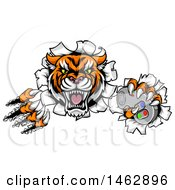 Clipart Of A Tiger Mascot Shredding Through A Wall And Holding A Video Game Controller Royalty Free Vector Illustration by AtStockIllustration