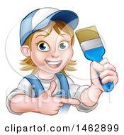 Cartoon Happy White Female Painter Holding Up A Brush And Pointing