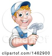 Poster, Art Print Of Cartoon Happy White Male Carpenter Holding A Hammer Around A Sign