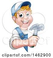 Cartoon Happy White Male Carpenter Holding A Hammer Around A Sign