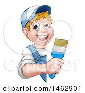 Cartoon Happy White Male Painter Holding Up A Brush Around A Sign