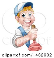 Clipart Of A Cartoon Happy White Male Plumber Holding A Plunger Around A Sign Royalty Free Vector Illustration