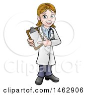 Clipart Of A Happy White Female Scientist Holding A Clipboard Royalty Free Vector Illustration by AtStockIllustration